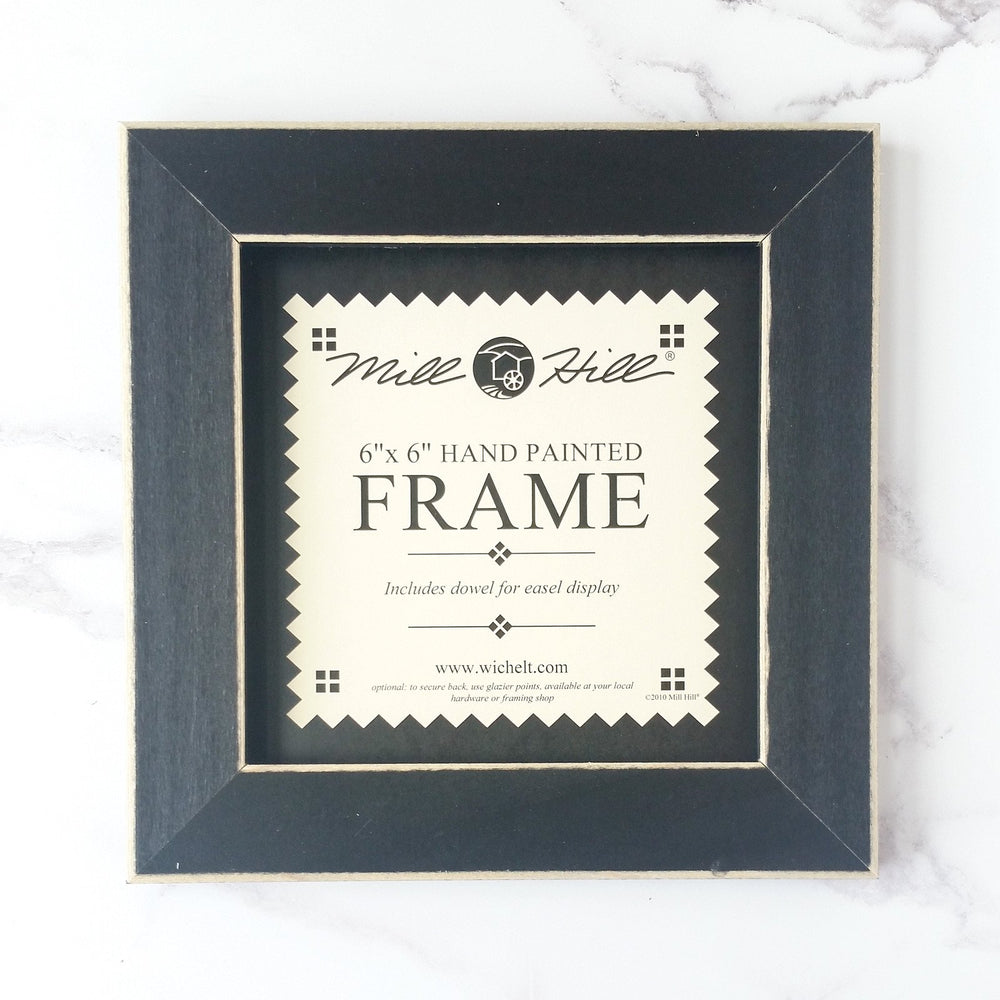 "Matte Black Wood Frame for Cross Stitch and Embroidery - 6"" x 6"""
