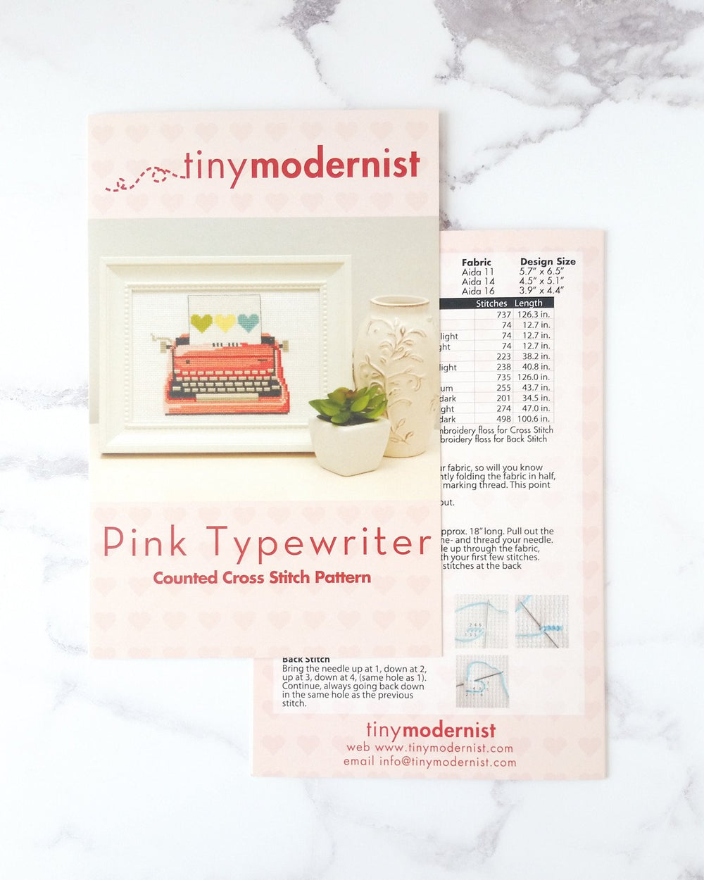 Pink Retro Typewriter Cross Stitch Pattern