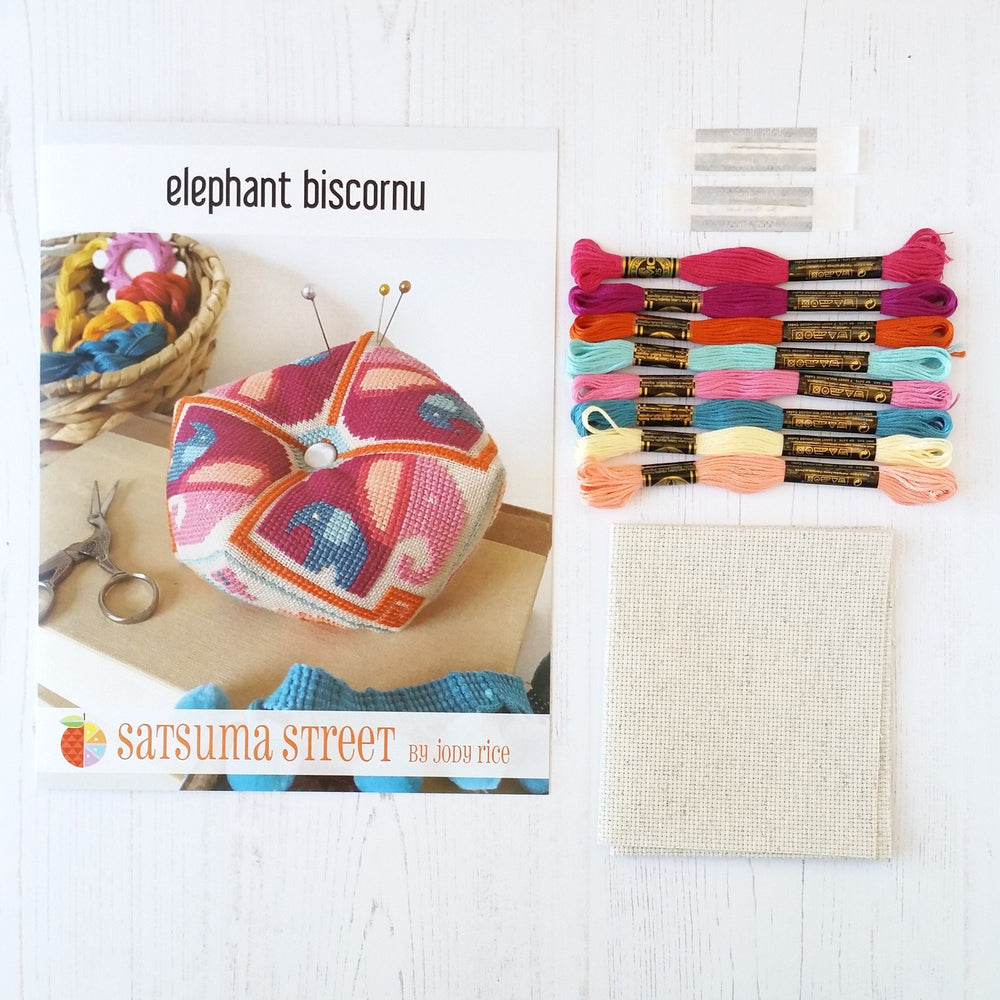 Elephant Biscornu Pincushion Cross Stitch Pattern
