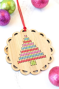 Cross Stitch Bamboo Ornament Kit - Bright Christmas Tree