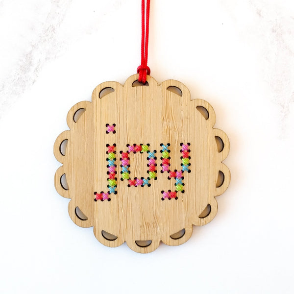 Cross Stitch Bamboo Ornament Kit - Bright Joy