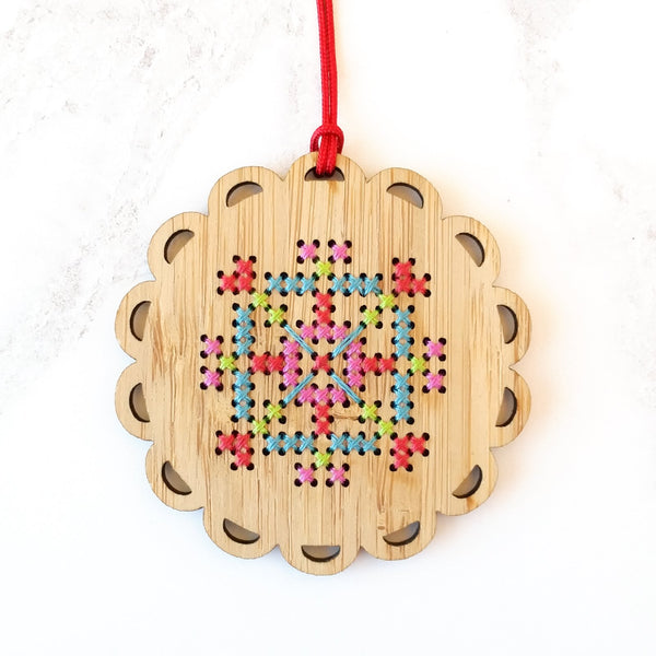 Cross Stitch Bamboo Ornament Kit - Bright Snowflake