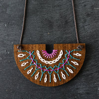 Hand Embroidery Wood Necklace Kit - Smocked Collection in Violet and Ocean