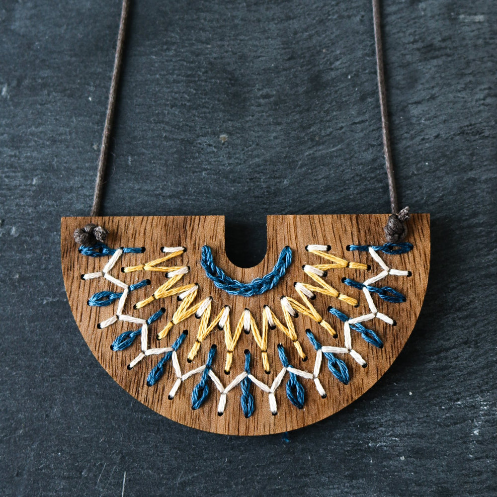 Hand Embroidery Wood Necklace Kit - Smocked Collection in Navy and Mustard
