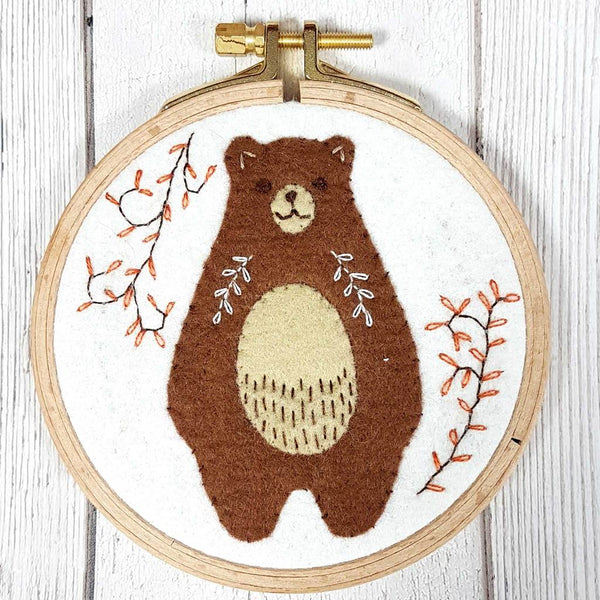 Felt Appliqué Hoop Kit - Folk Bear
