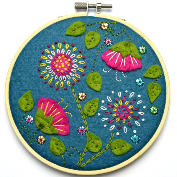 Tropical Flowers Felt Appliqué Hoop Kit
