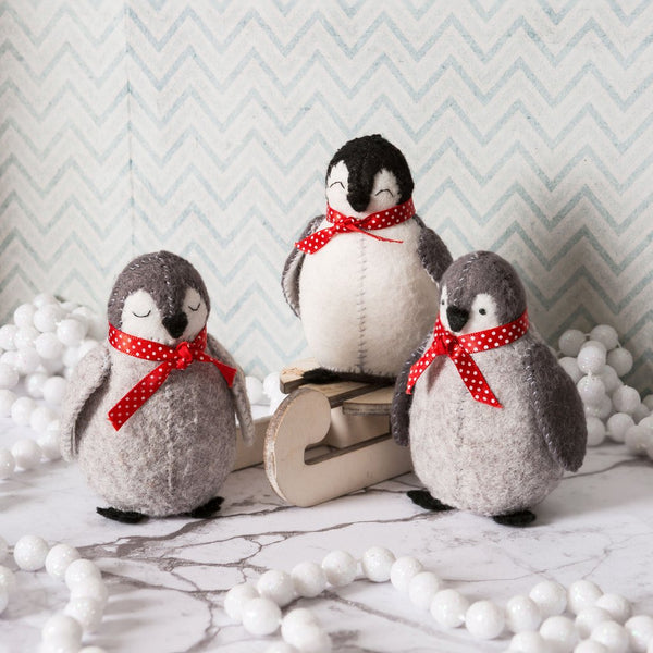 Hand Stitched Felt Craft Kit - Baby Penguins