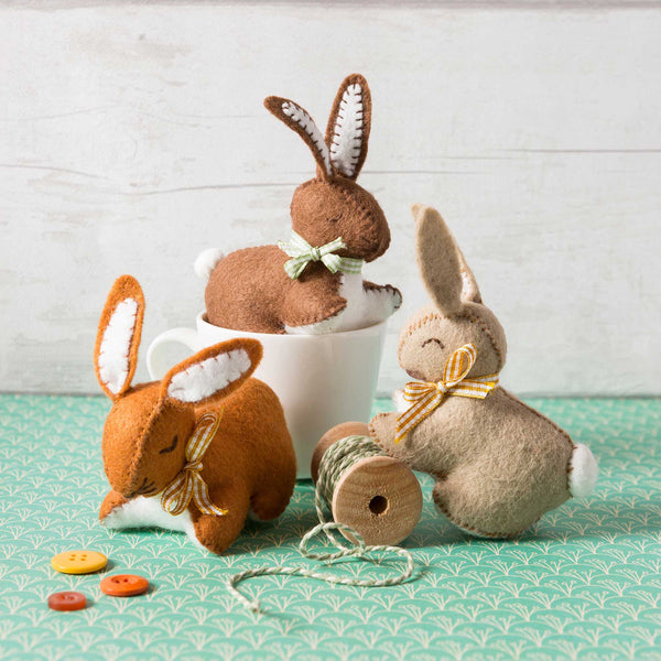 Hand Stitched Felt Craft Kit - Three Bunnies