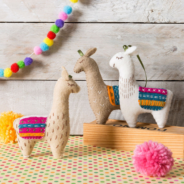 Hand Stitched Felt Craft Kit - Three Llamas