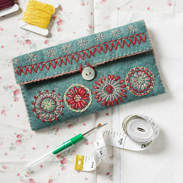 Hand Embroidered Felt Sewing Pouch Kit