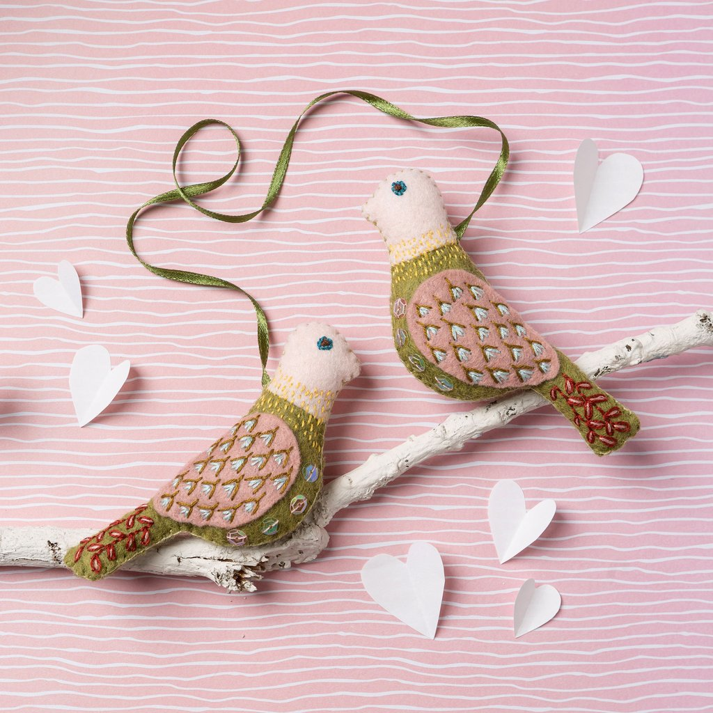 Felt Craft Kit - Hand Embroidered Love Birds