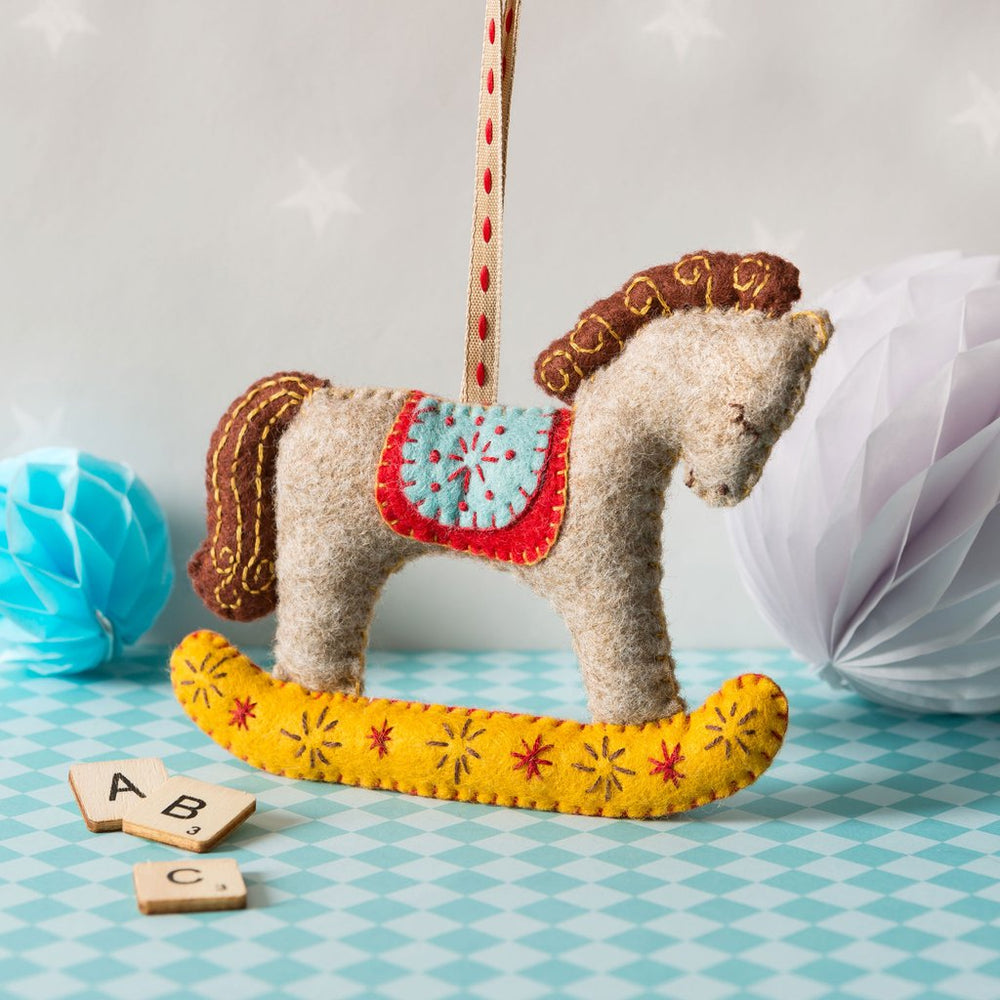 Hand Stitched Felt Craft Kit - Rocking Horse