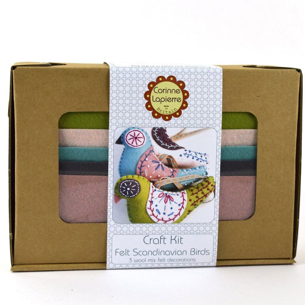 Hand Stitched Felt Craft Kit - Scandinavian Birds
