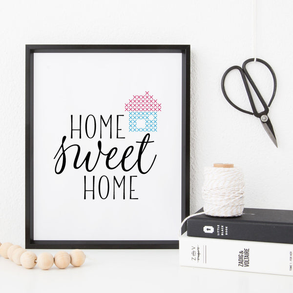 Stitchable Cross Stitch Art Print - Home Sweet Home