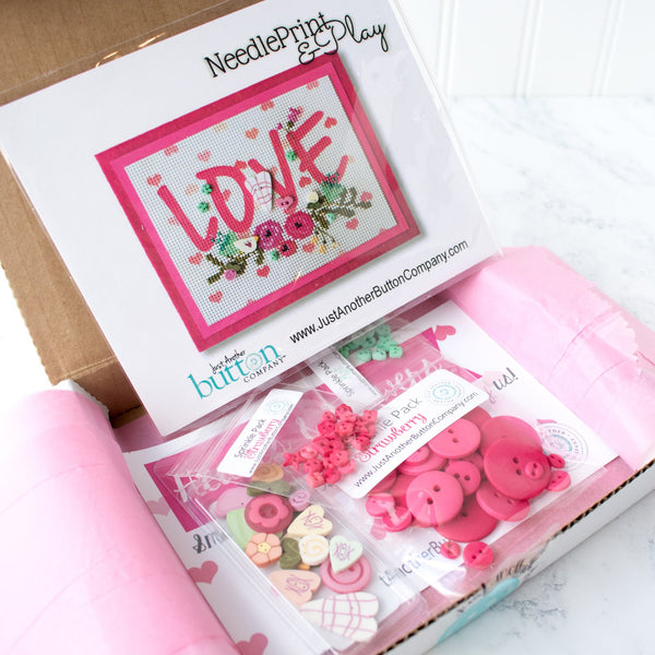 Hearts and Flowers Cross Stitch and Button Box - Limited Edition
