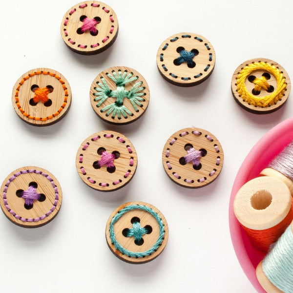 Set of 6 Stitchable Bamboo Buttons
