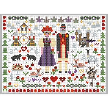 Black Forest Folkies Cross Stitch Pattern