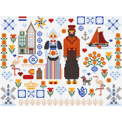 Dutch Folkies Cross Stitch Pattern