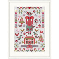 Pink House Sampler Cross Stitch Pattern