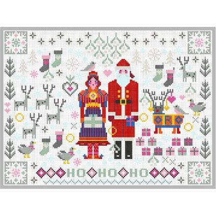 Santa and Mrs. Claus Folkies Cross Stitch Pattern