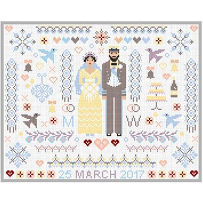 Wedding Folkies Cross Stitch Pattern