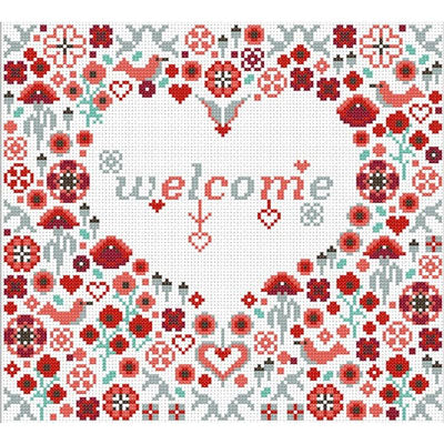 Welcome Poppy Heart Cross Stitch Pattern