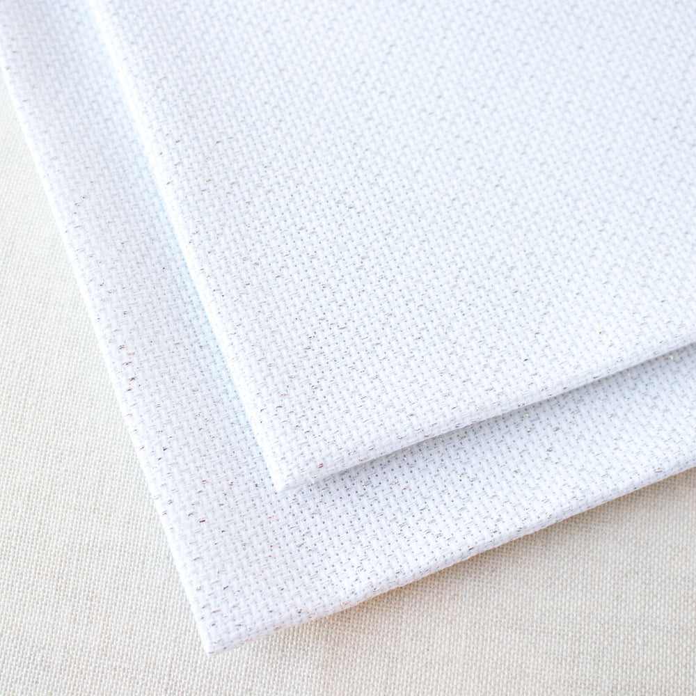 White and Silver Metallic Aida Cross Stitch Fabric