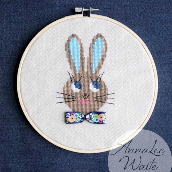 Annalee Waite Designs Ribbon Rabbit Girl Cross Stitch Pattern