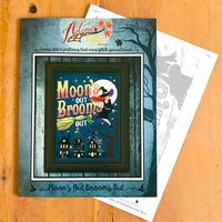 Moon's Out Brooms Out Cross Stitch Pattern