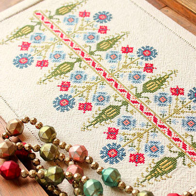 Mediterranean Folk Cross Stitch Kit - Delphian Cornflower