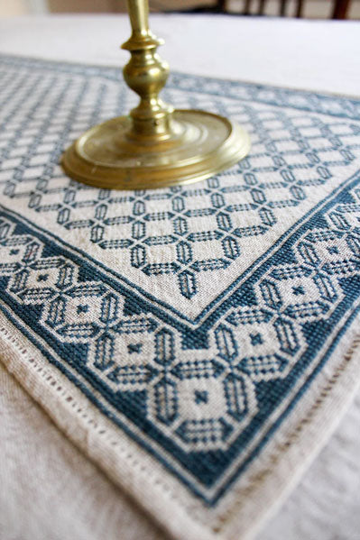 Mediterranean Folk Cross Stitch Pattern Aegean Octagon Table Runner Stitched Modern