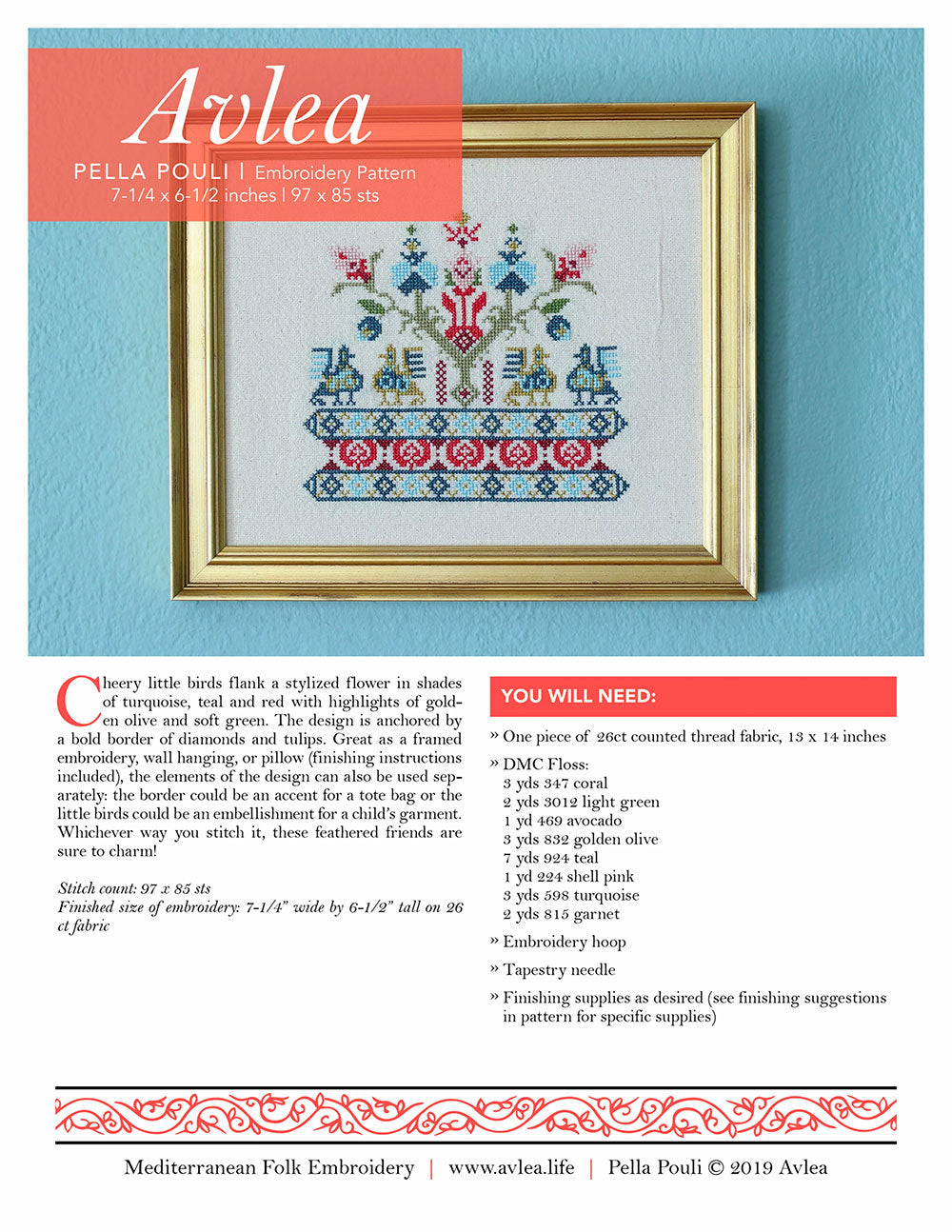 Mediterranean Folk Cross Stitch Kit - Pella Pouli