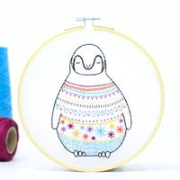 Baby Penguin Contemporary Hand Embroidery Kit