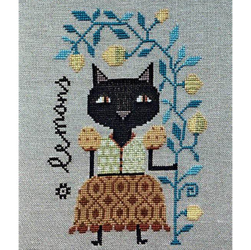 Lemon Cat Cross Stitch Pattern