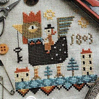 Rooster Ride Cross Stitch Pattern