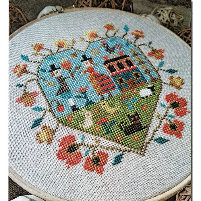 Spring Heart Cross Stitch Pattern