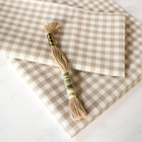 Gingham Check Lugana Evenweave Cross Stitch Fabric - Barnboard