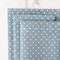Blue/White Polka Dot Linen Fabric for Cross Stitch and Embroidery