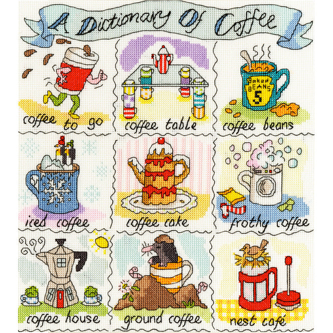 Dictionary of Coffee Cross Stitch Kit