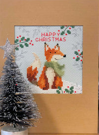 Cross Stitch Greeting Card Kit - Christmas Fox