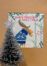 Cross Stitch Greeting Card Kit - Christmas Moose