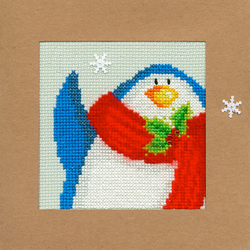Cross Stitch Greeting Card Kit - Snowy Penguin