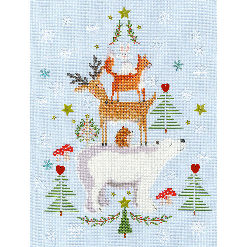 Snowy Stack Cross Stitch Kit