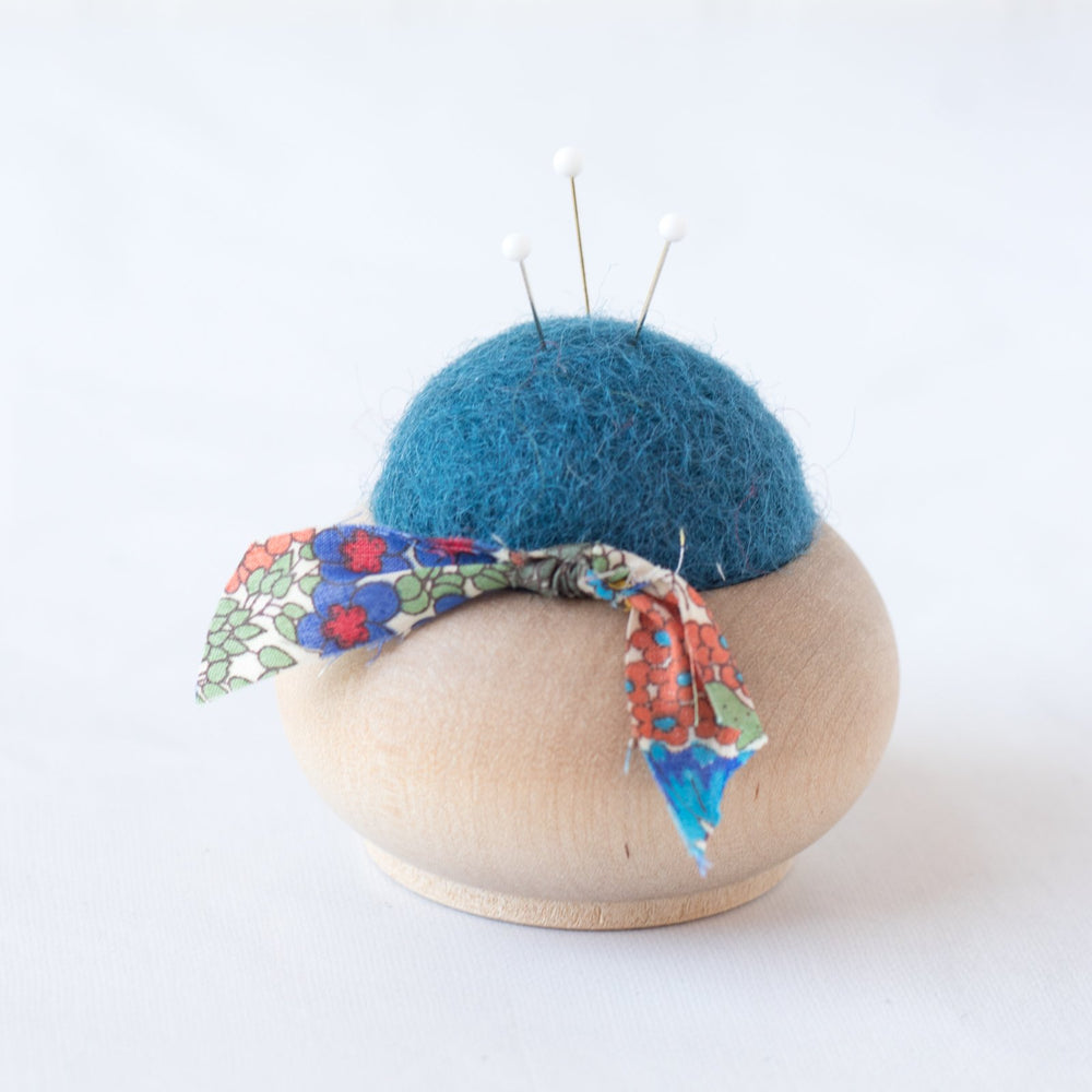 Handmade Wood and Wool Pincushions