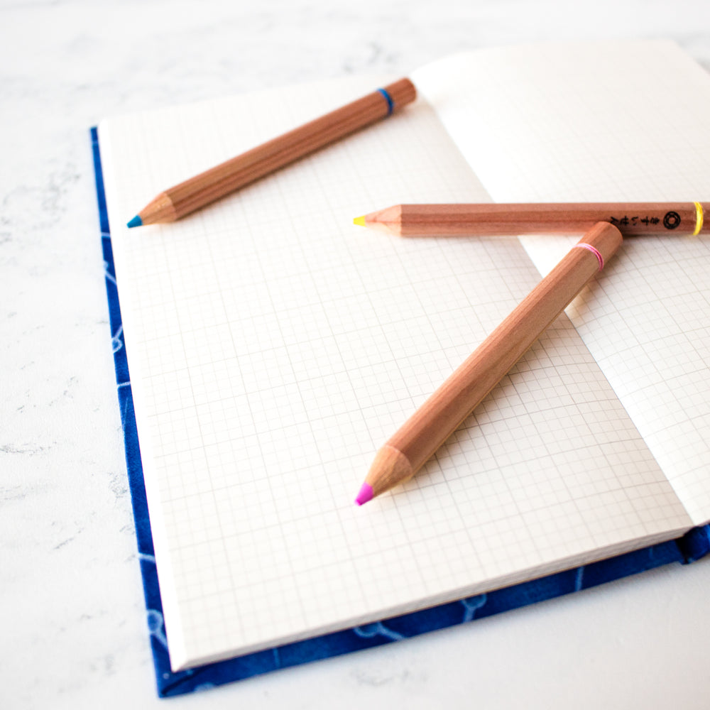 Japanese Grid-Lined Notebook and Pencil Set
