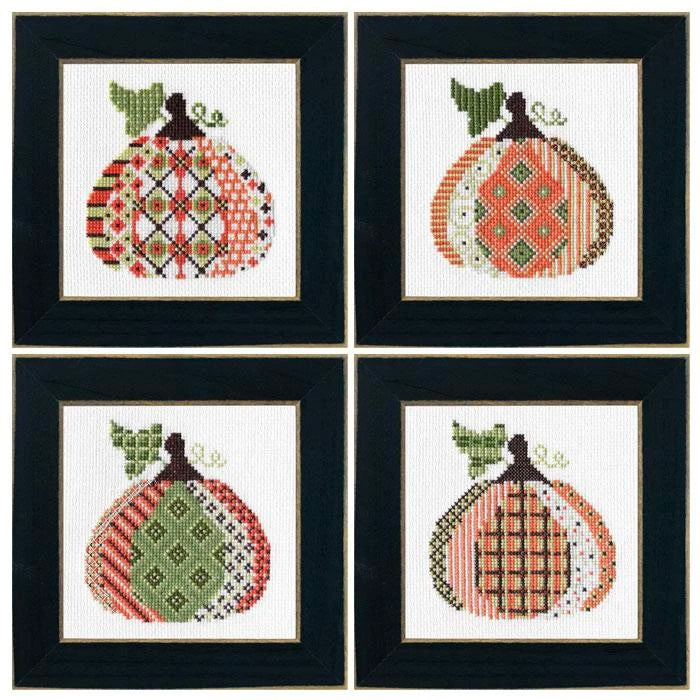 Patterned Pumpkin Cross Stitch Kit - Set of 4