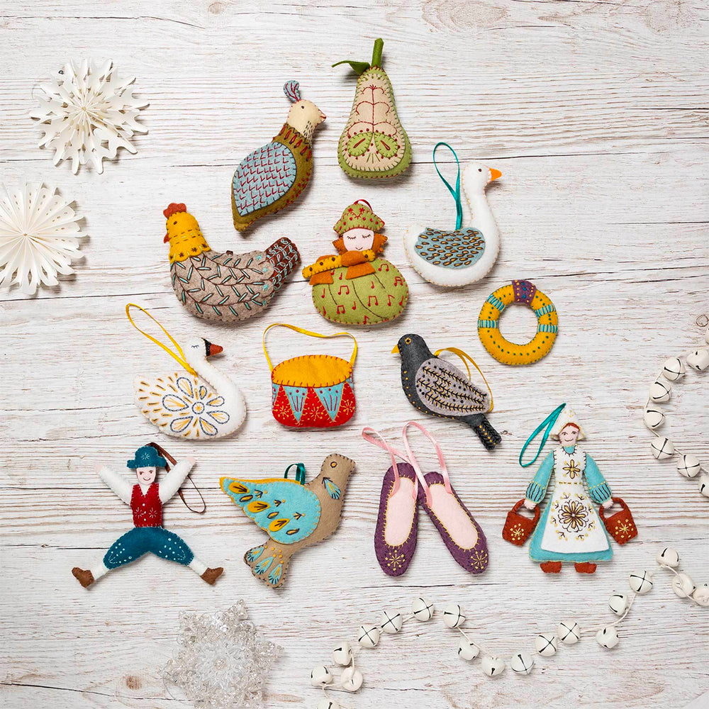 12 Days of Christmas Felt Ornament Kit - Maid-a-Milking
