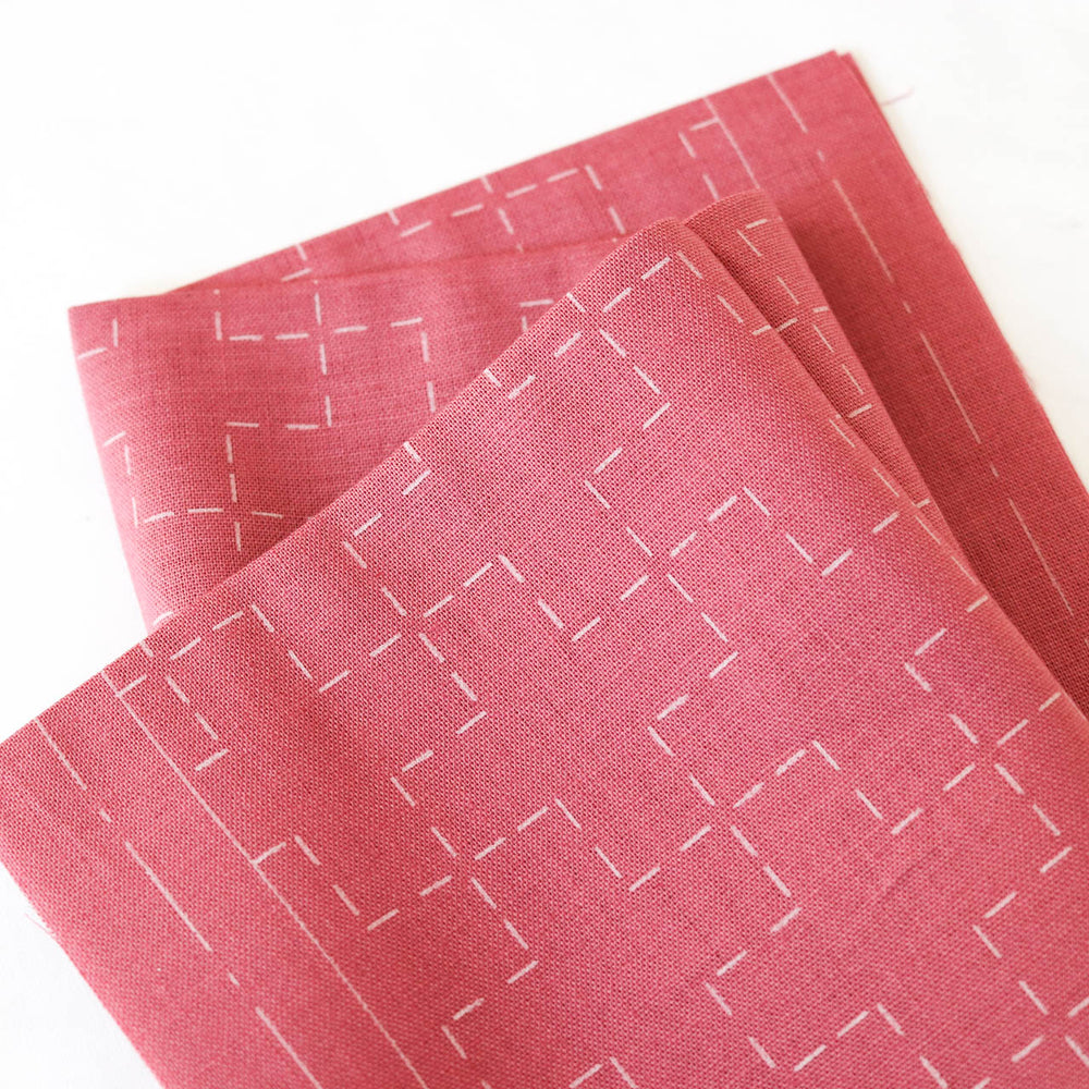 Hidamari Preprinted Sashiko Cloth - Juji-tsunagi (Linked Crosses)