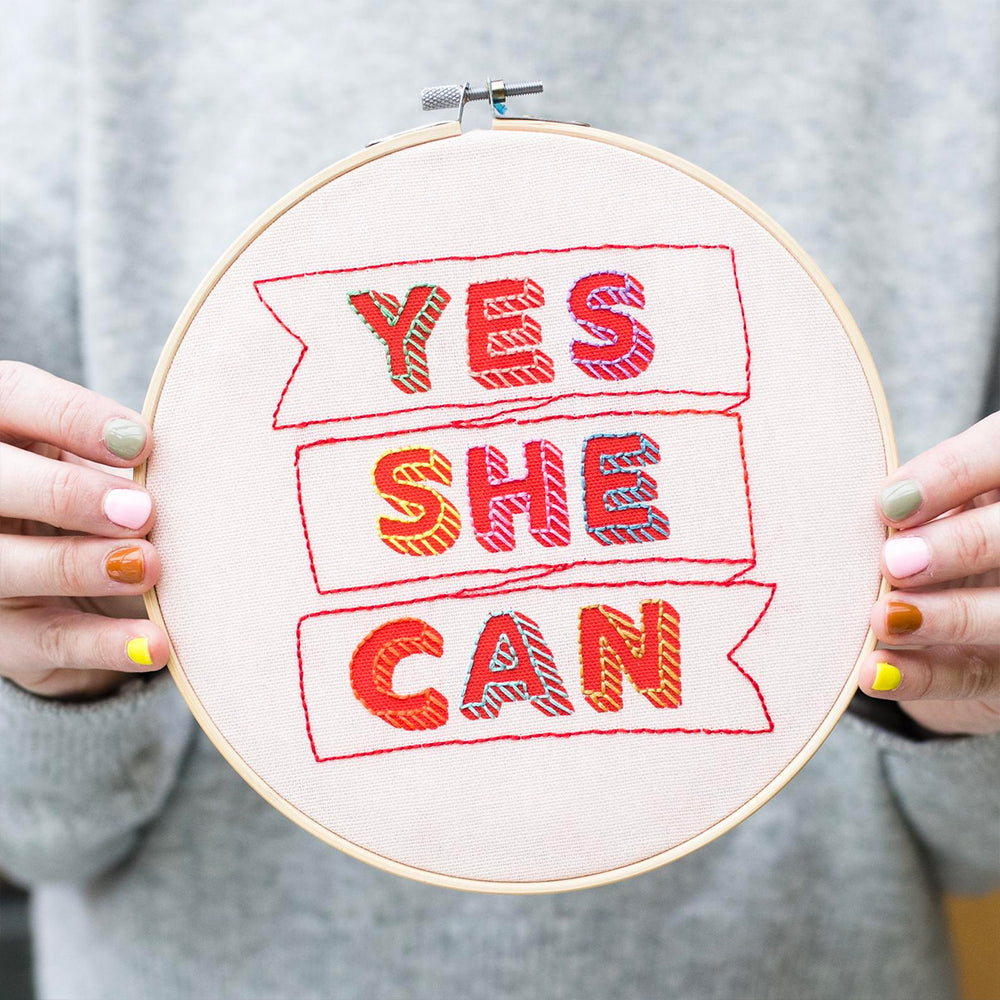 Yes She Can Hand Embroidery Kit