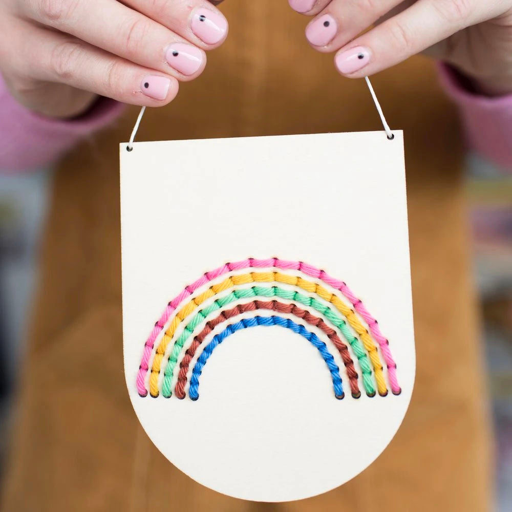 Rainbow Banner Wood Embroidery Kit